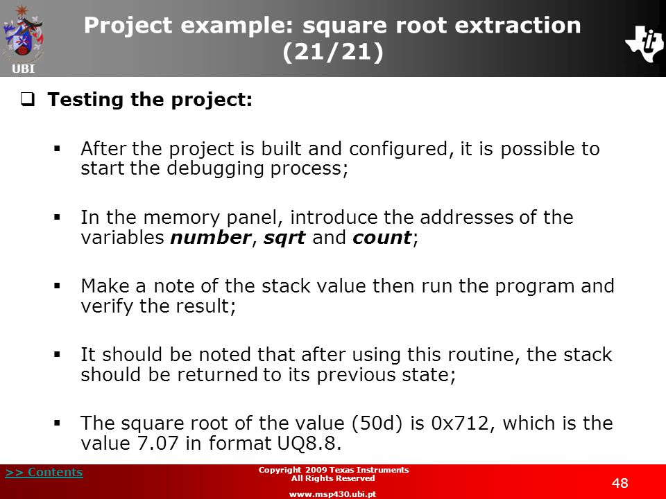 Project example: square root extraction (21/21)