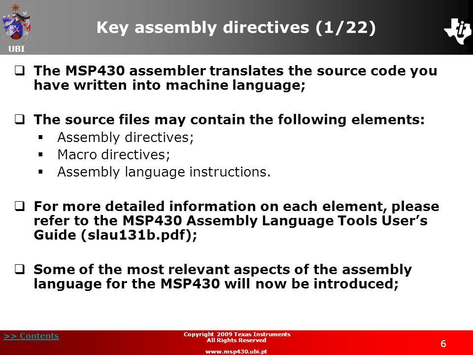 Key assembly directives (1/22)