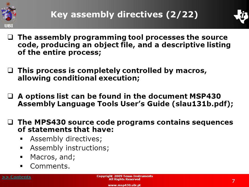 Key assembly directives (2/22)