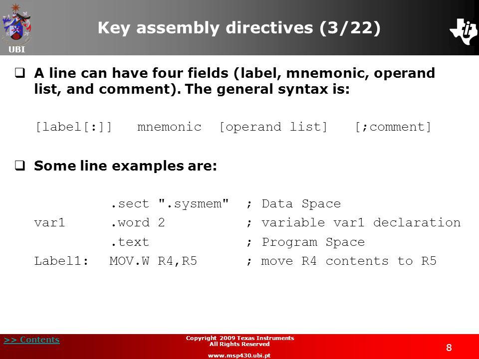 Key assembly directives (3/22)
