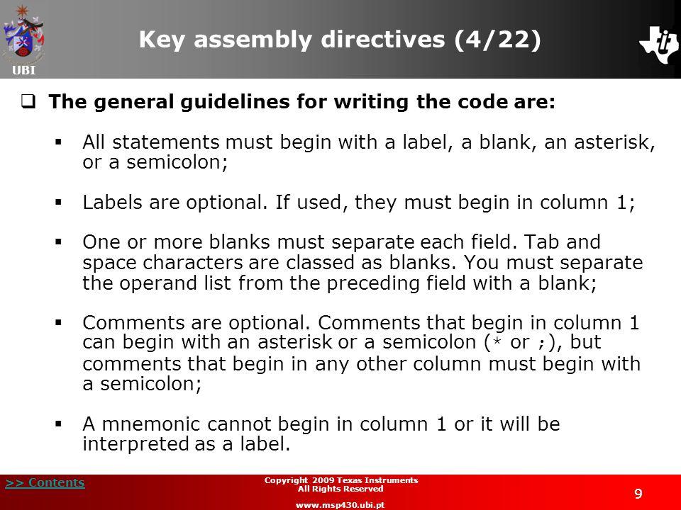 Key assembly directives (4/22)