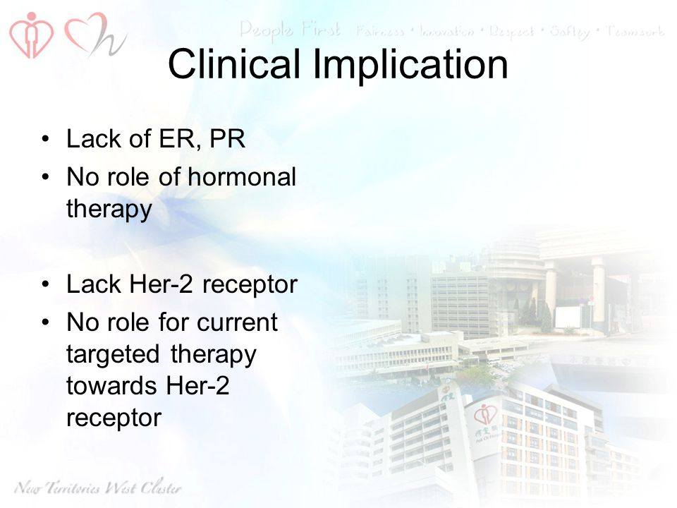 Clinical Implication Lack of ER, PR No role of hormonal therapy
