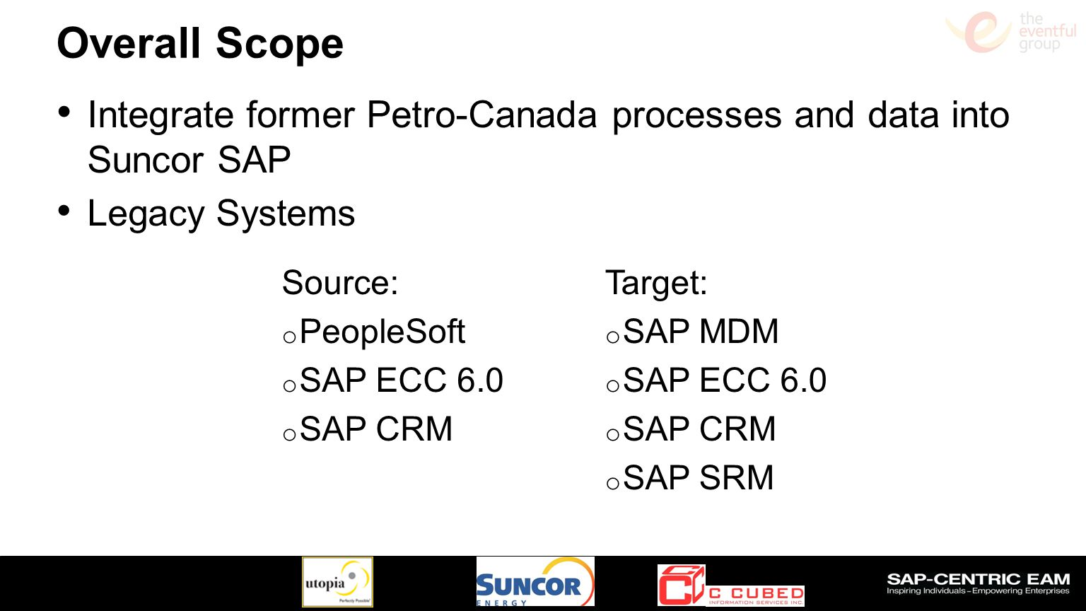 Overall Scope Integrate former Petro-Canada processes and data into Suncor SAP. Legacy Systems. Source: