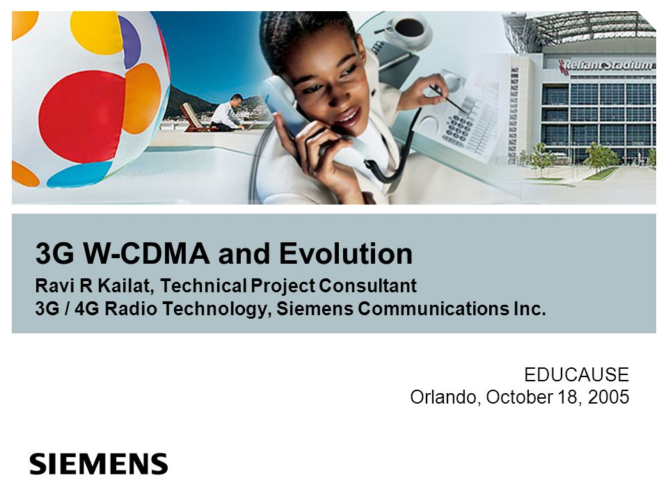 3G W-CDMA and Evolution Ravi R Kailat, Technical Project Consultant 3G / 4G Radio Technology, Siemens Communications Inc.