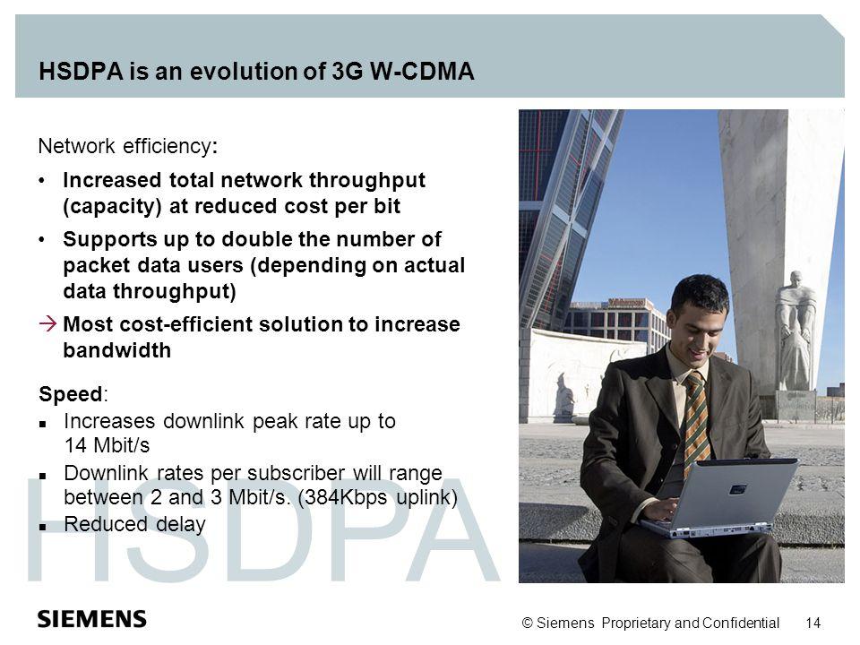 HSDPA is an evolution of 3G W-CDMA
