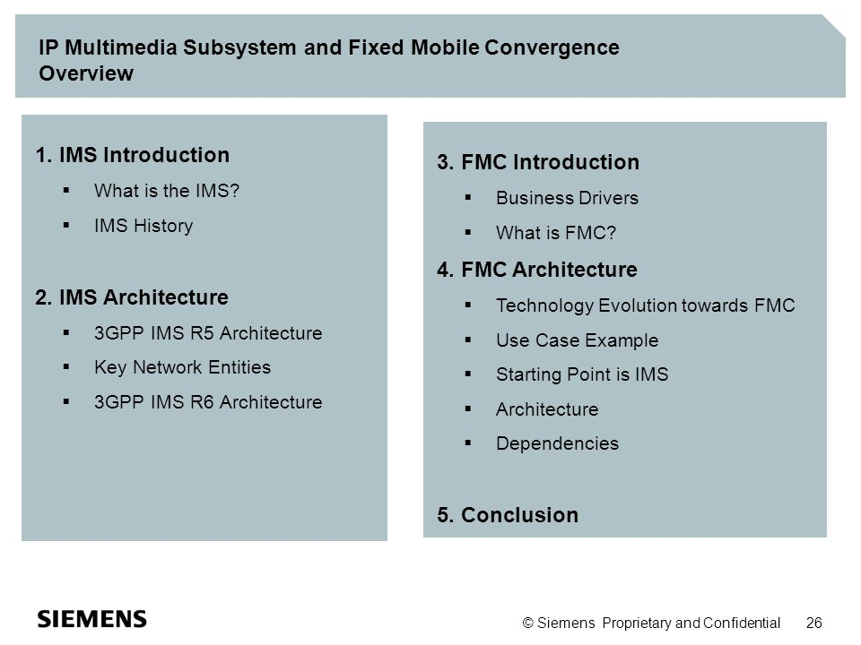 IP Multimedia Subsystem and Fixed Mobile Convergence Overview