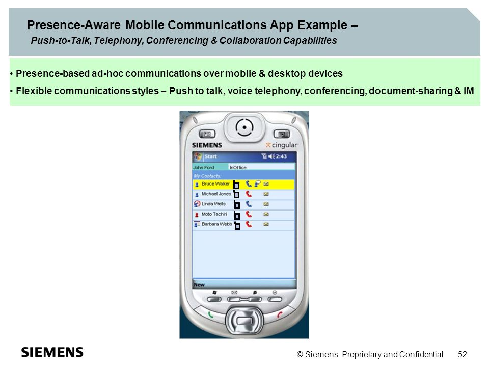 Presence-Aware Mobile Communications App Example – Push-to-Talk, Telephony, Conferencing & Collaboration Capabilities