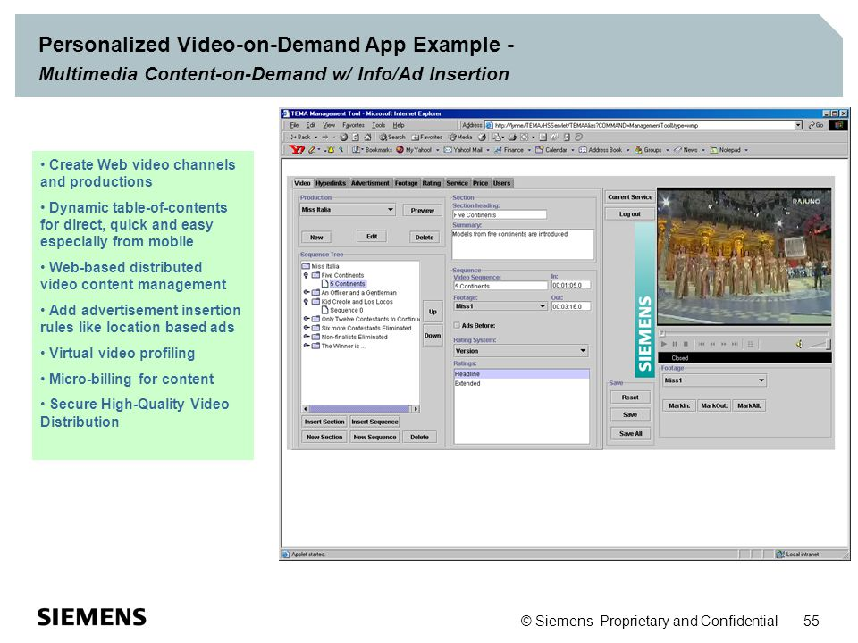 Personalized Video-on-Demand App Example - Multimedia Content-on-Demand w/ Info/Ad Insertion