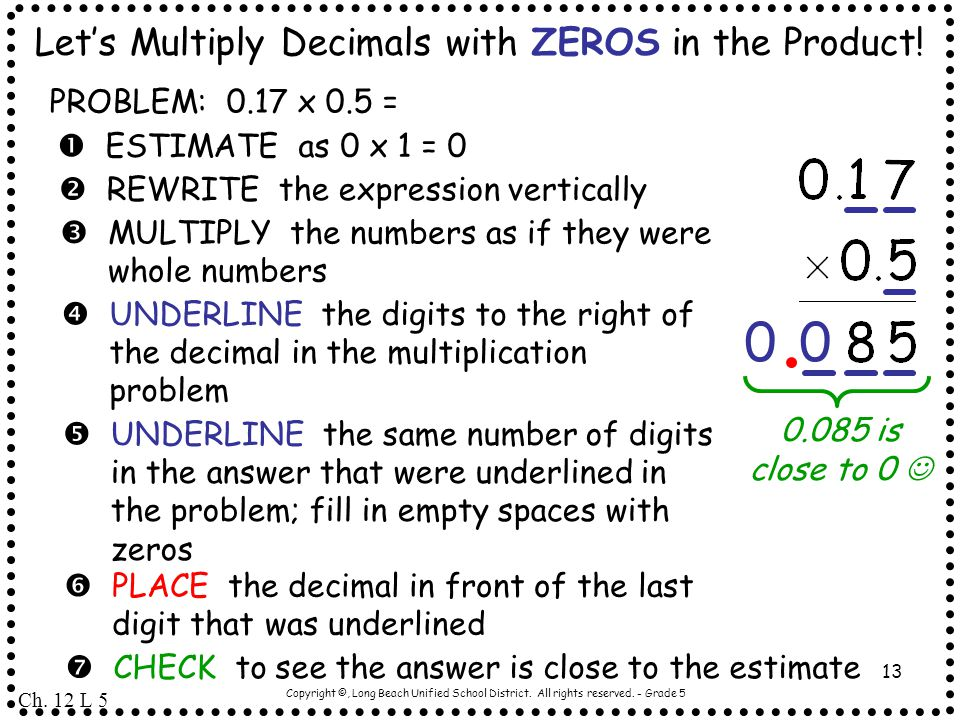 Let's Multiply Decimals with ZEROS in the Product!