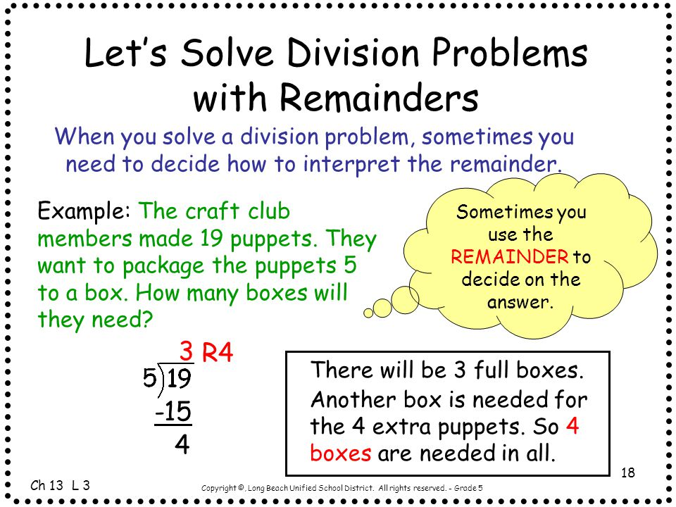 Let's Solve Division Problems with Remainders
