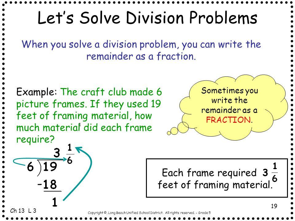 Let's Solve Division Problems