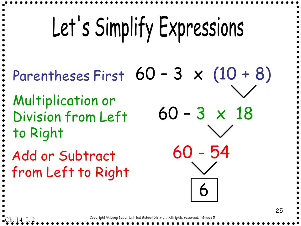 Let s Simplify Expressions