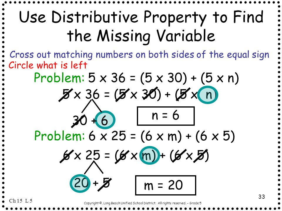 Use Distributive Property to Find the Missing Variable