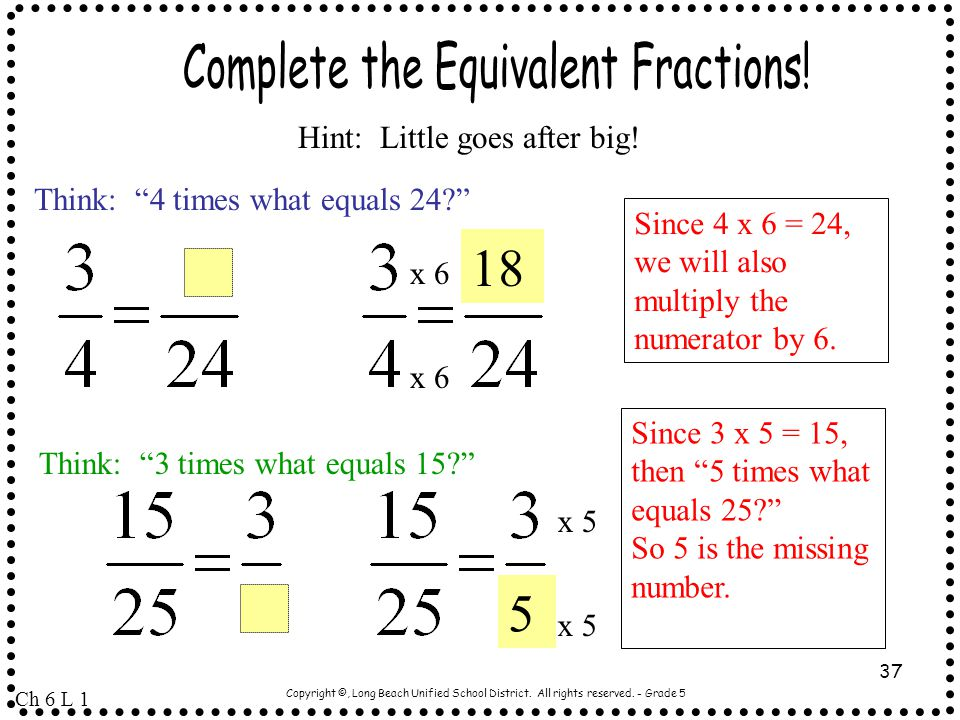 Complete the Equivalent Fractions!