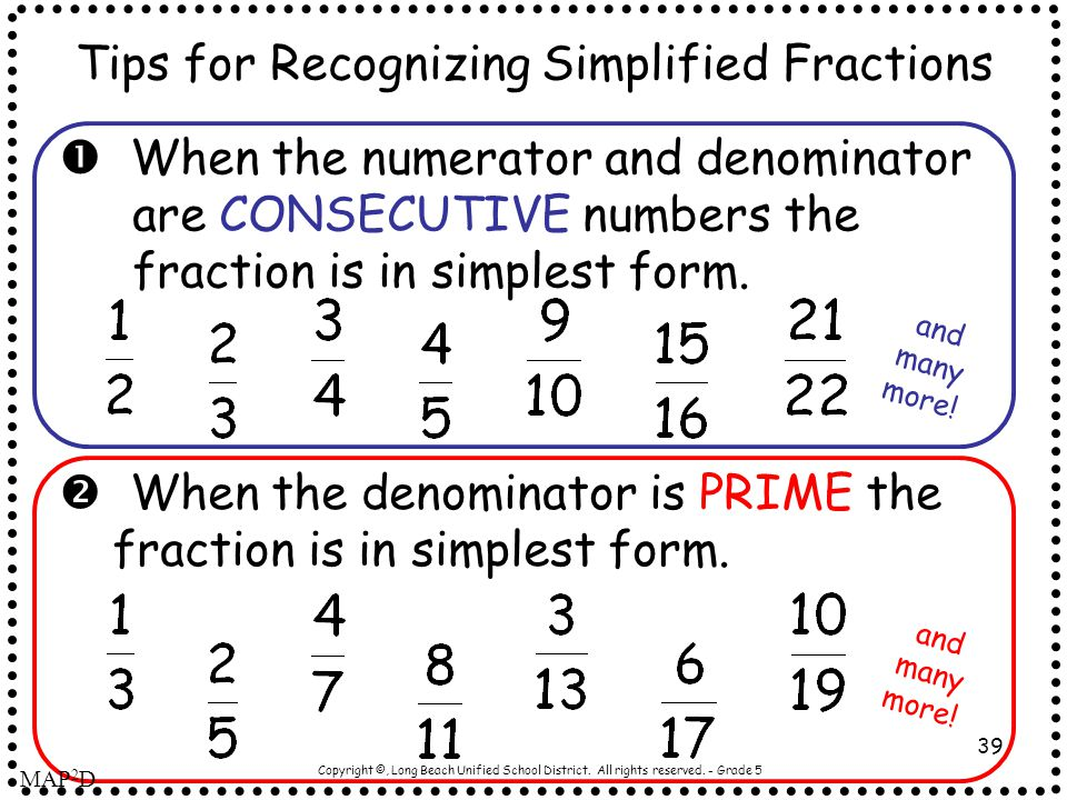 Tips for Recognizing Simplified Fractions