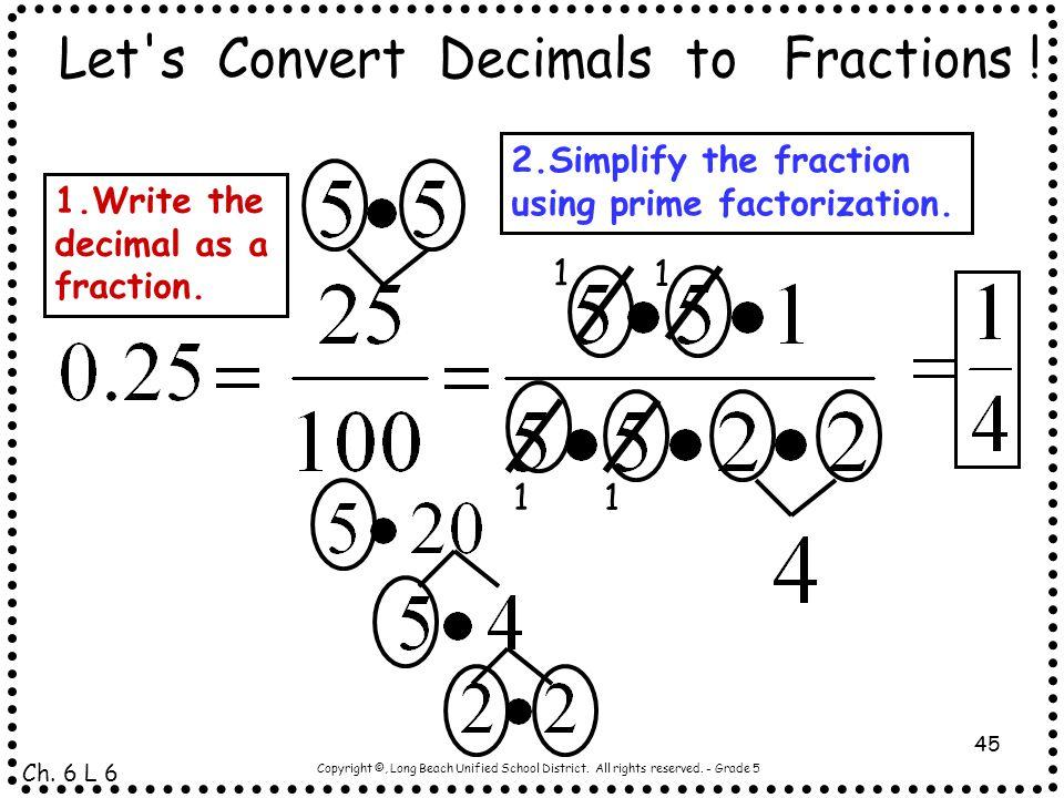 Let s Convert Decimals to Fractions !