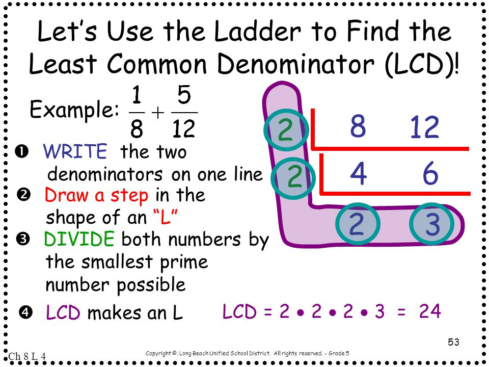 Let's Use the Ladder to Find the Least Common Denominator (LCD)!