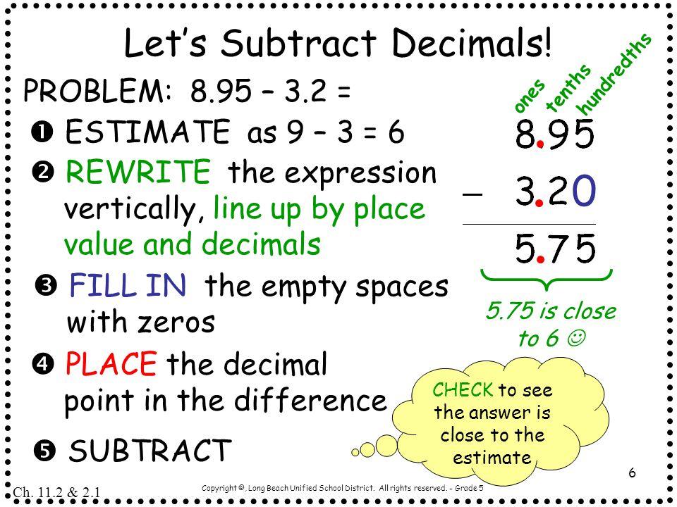 Let's Subtract Decimals!
