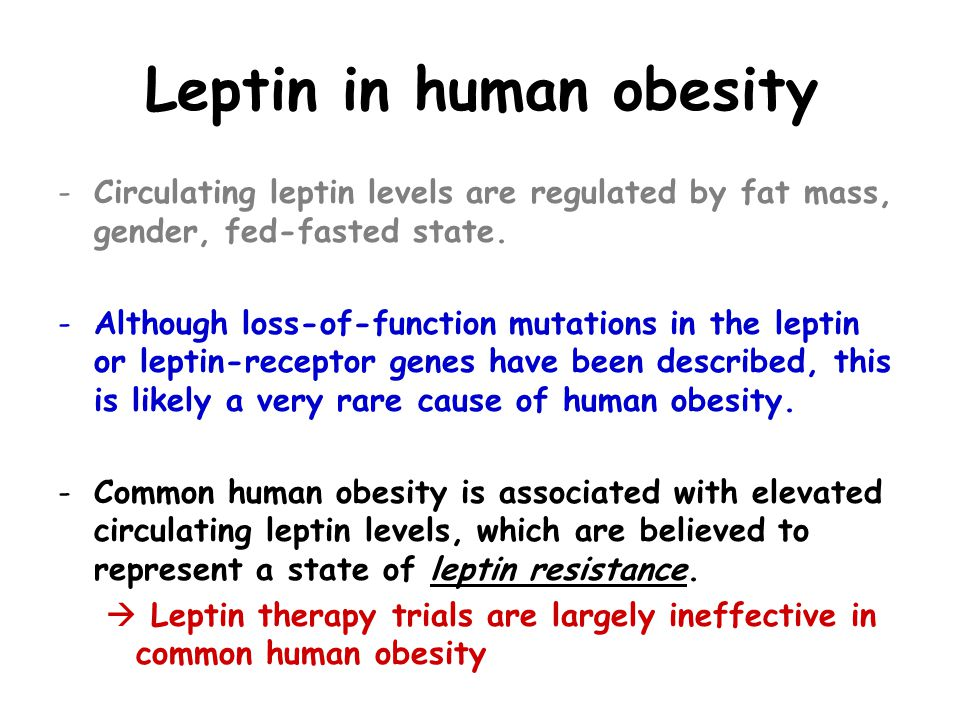 Leptin in human obesity