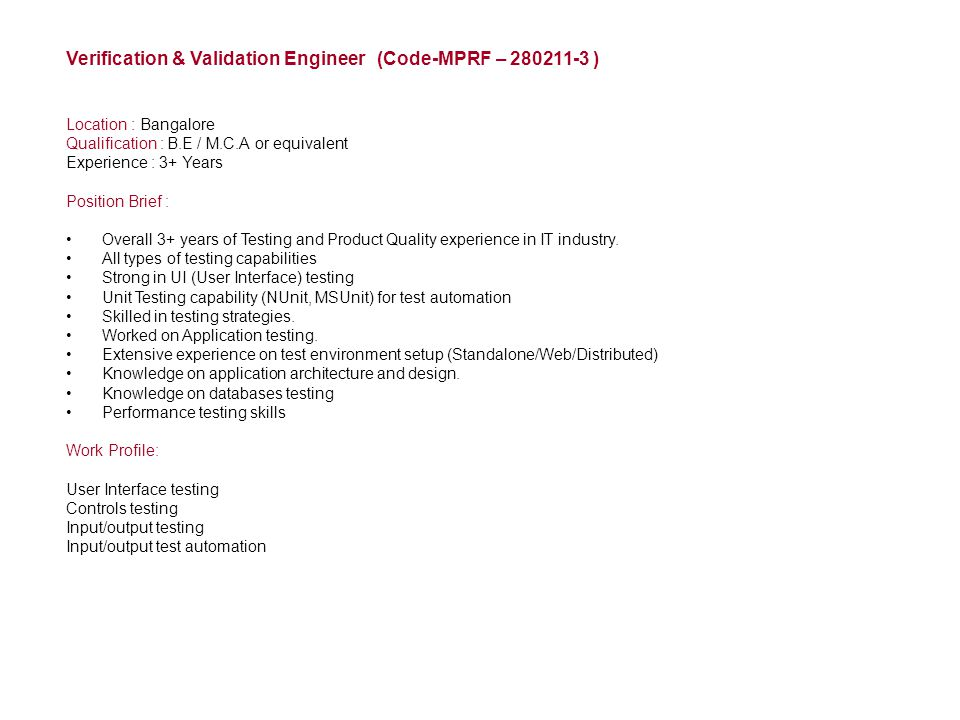 Verification & Validation Engineer (Code-MPRF – 280211-3 )