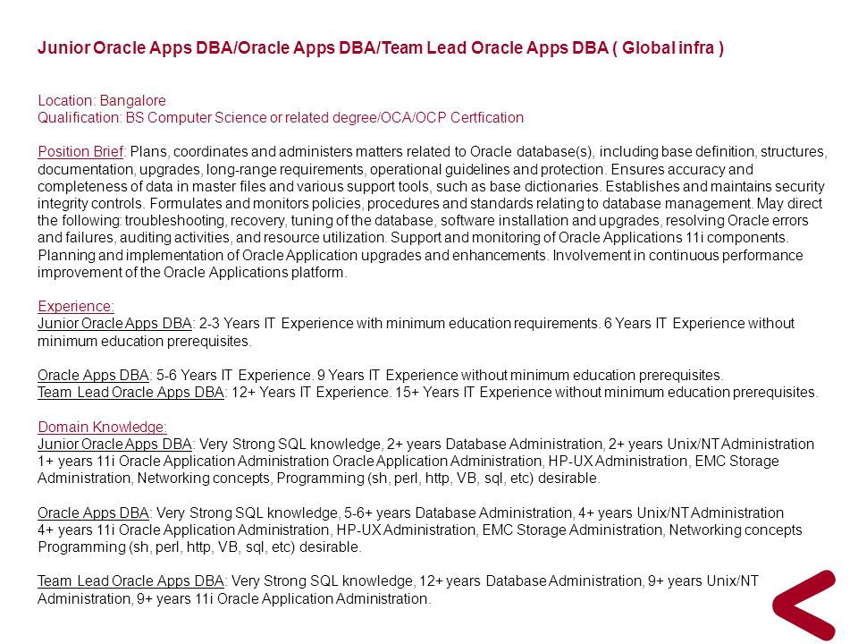 Junior Oracle Apps DBA/Oracle Apps DBA/Team Lead Oracle Apps DBA ( Global infra )
