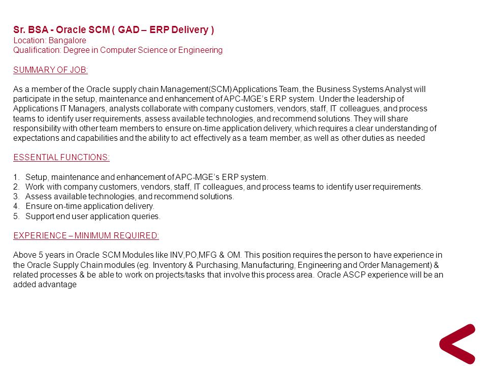 Sr. BSA - Oracle SCM ( GAD – ERP Delivery )