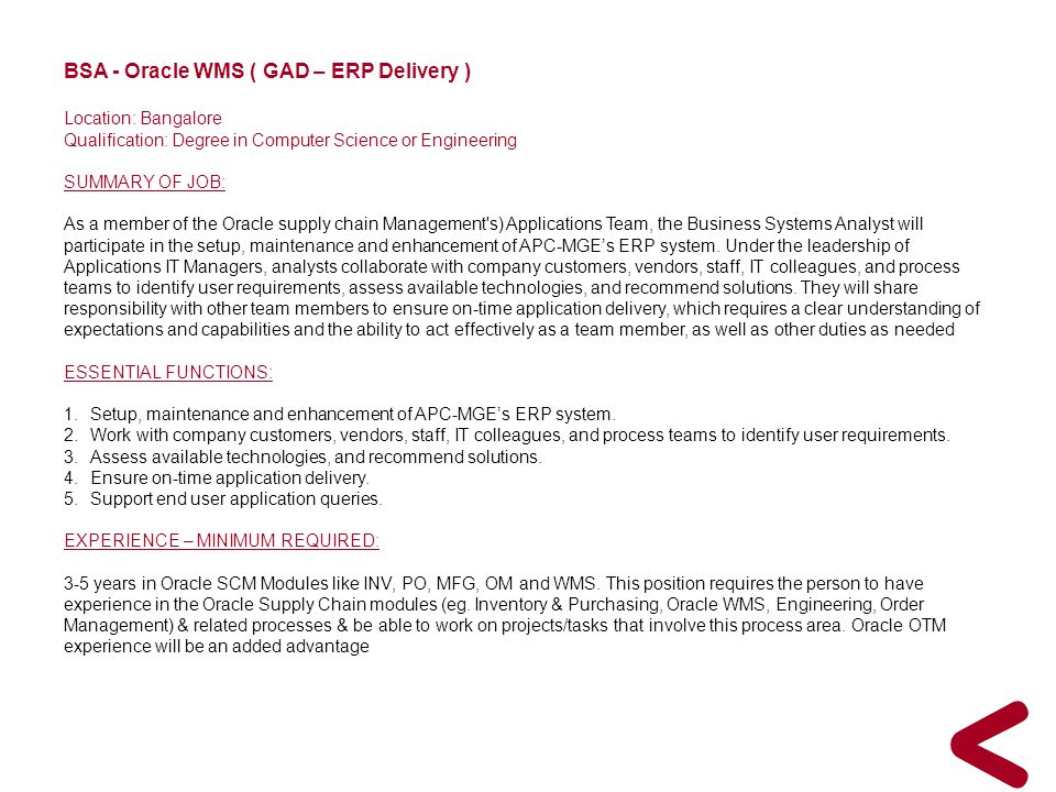 BSA - Oracle WMS ( GAD – ERP Delivery )