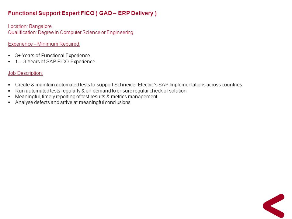 Functional Support Expert FICO ( GAD – ERP Delivery )