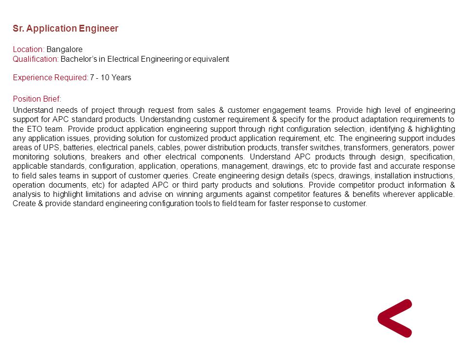 Sr. Application Engineer