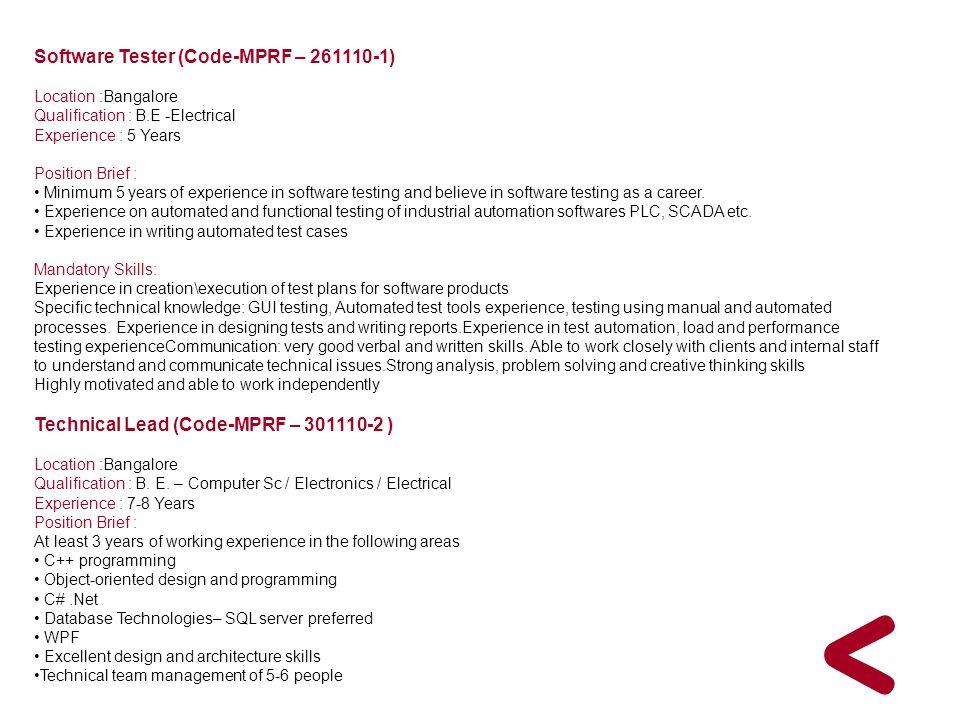 Software Tester (Code-MPRF – 261110-1)