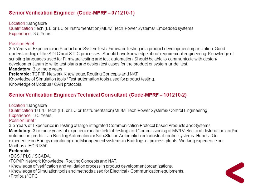 Senior Verification Engineer (Code-MPRF – 071210-1)