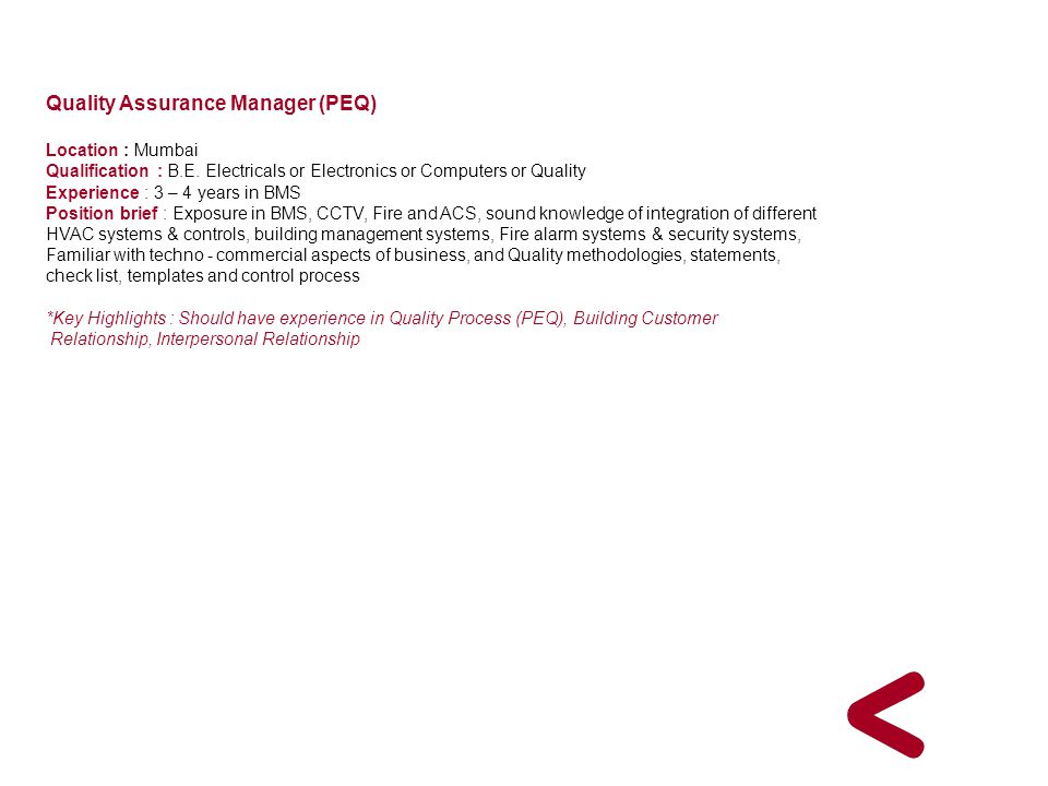 Quality Assurance Manager (PEQ)