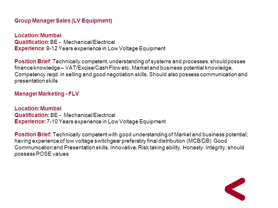 Group Manager Sales (LV Equipment)