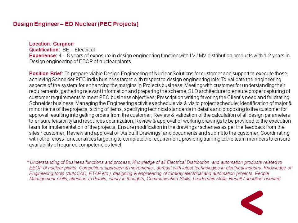 Design Engineer – ED Nuclear (PEC Projects)
