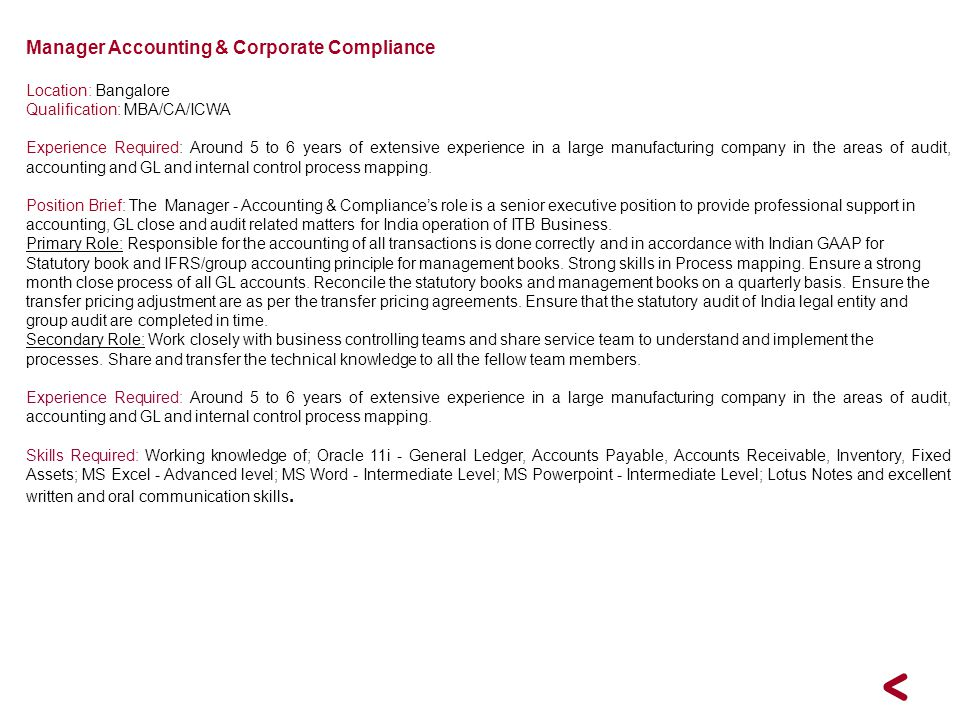Manager Accounting & Corporate Compliance