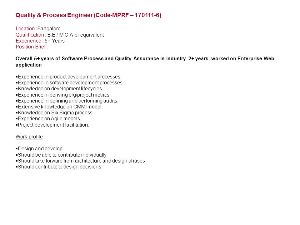 Quality & Process Engineer (Code-MPRF – 170111-6)