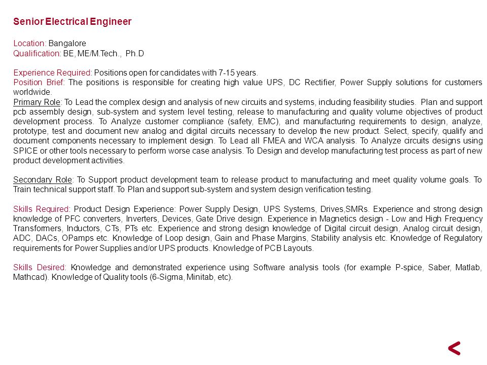 Senior Electrical Engineer