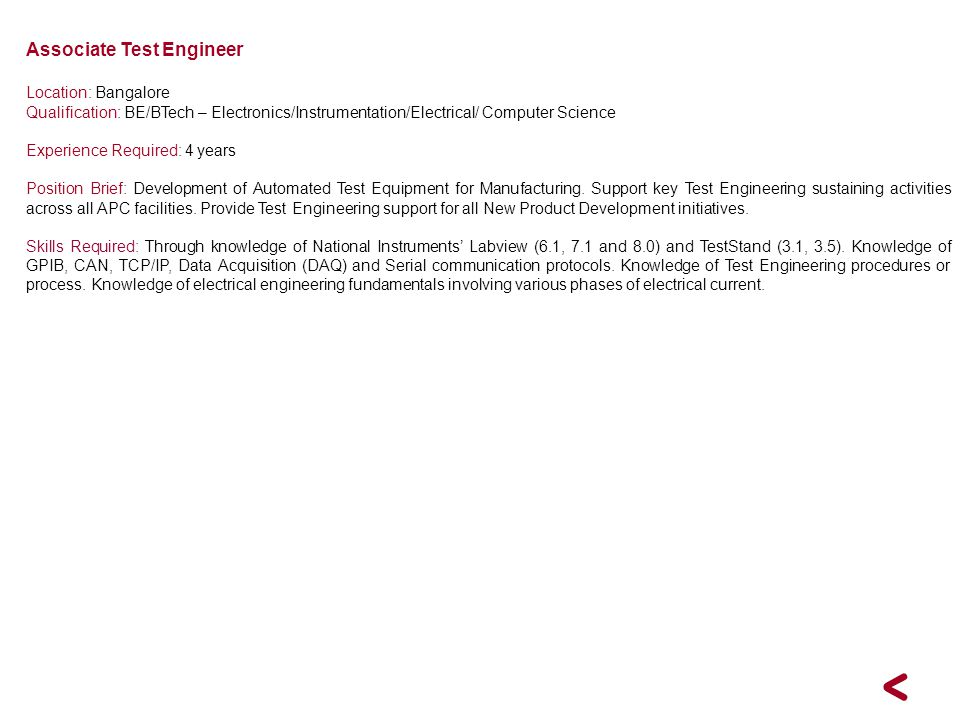 Associate Test Engineer