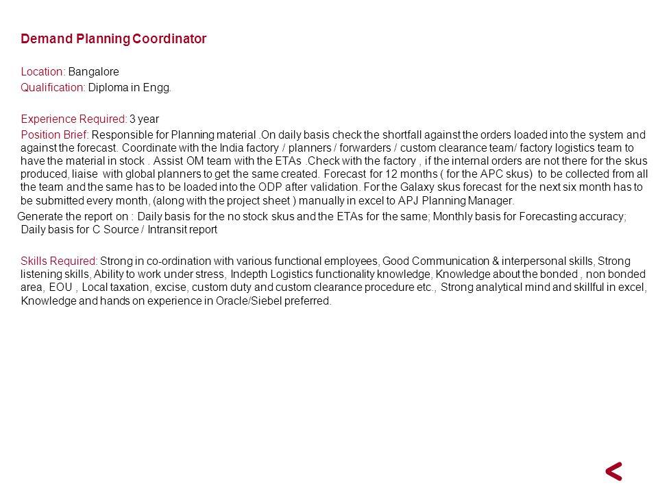 Demand Planning Coordinator
