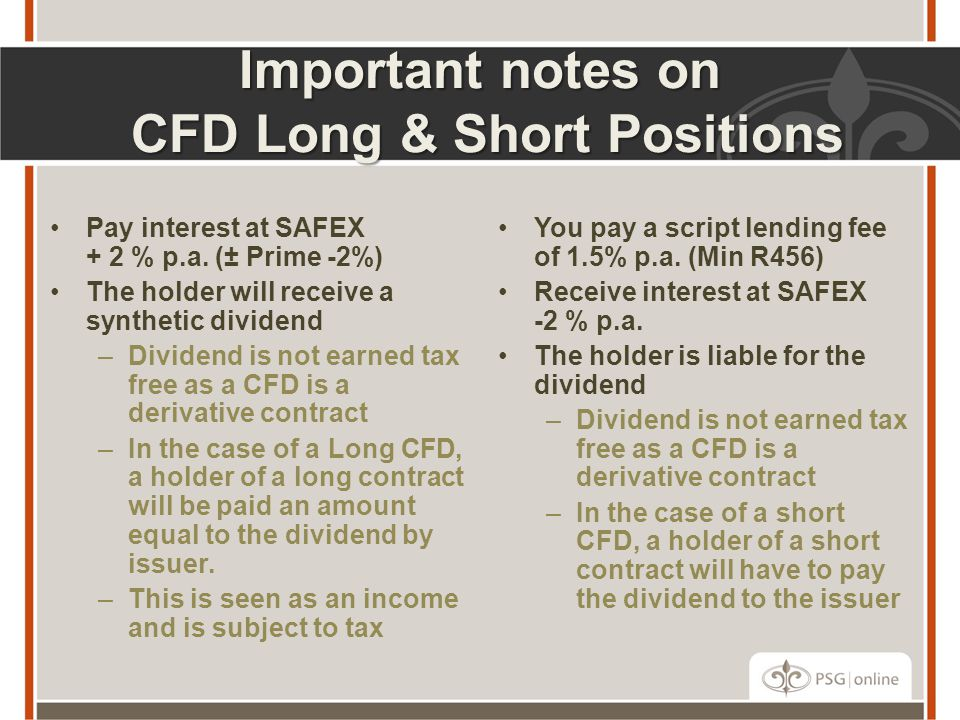 Important notes on CFD Long & Short Positions