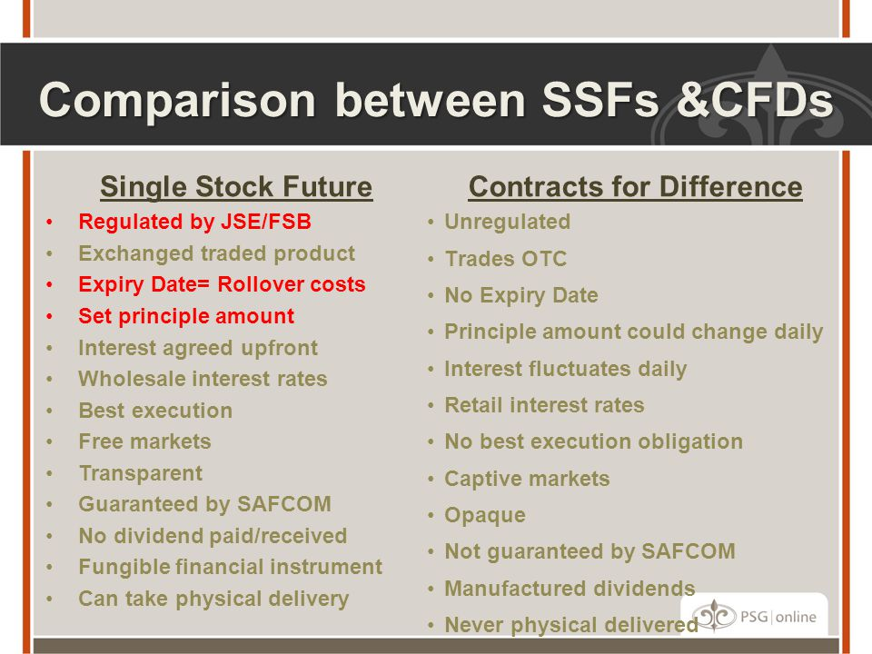 Comparison between SSFs &CFDs