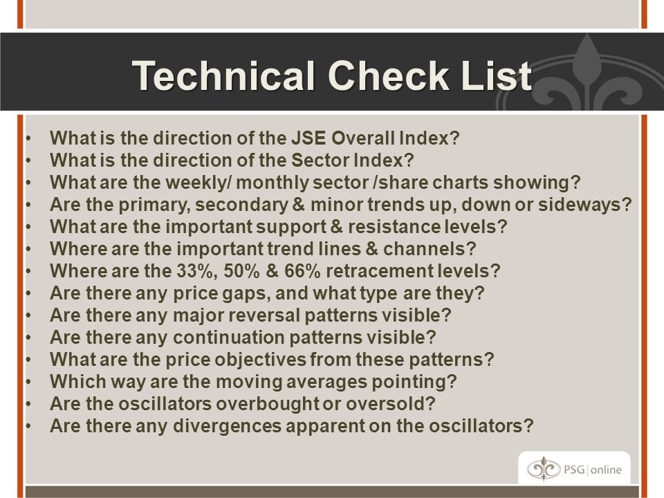 Technical Check List What is the direction of the JSE Overall Index