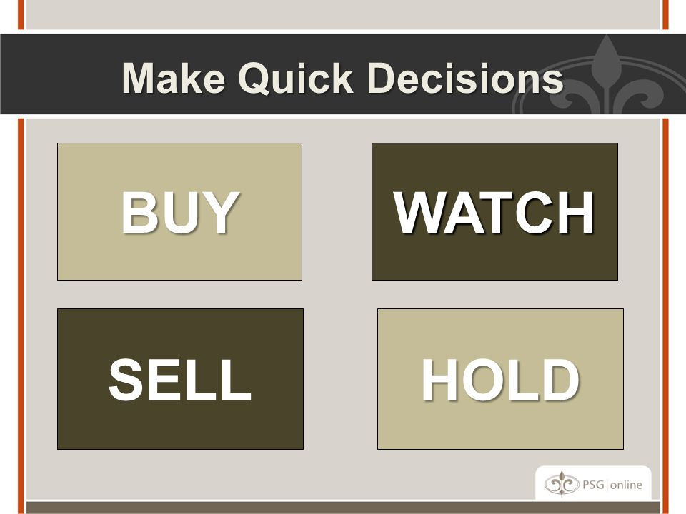 Make Quick Decisions BUY WATCH SELL HOLD