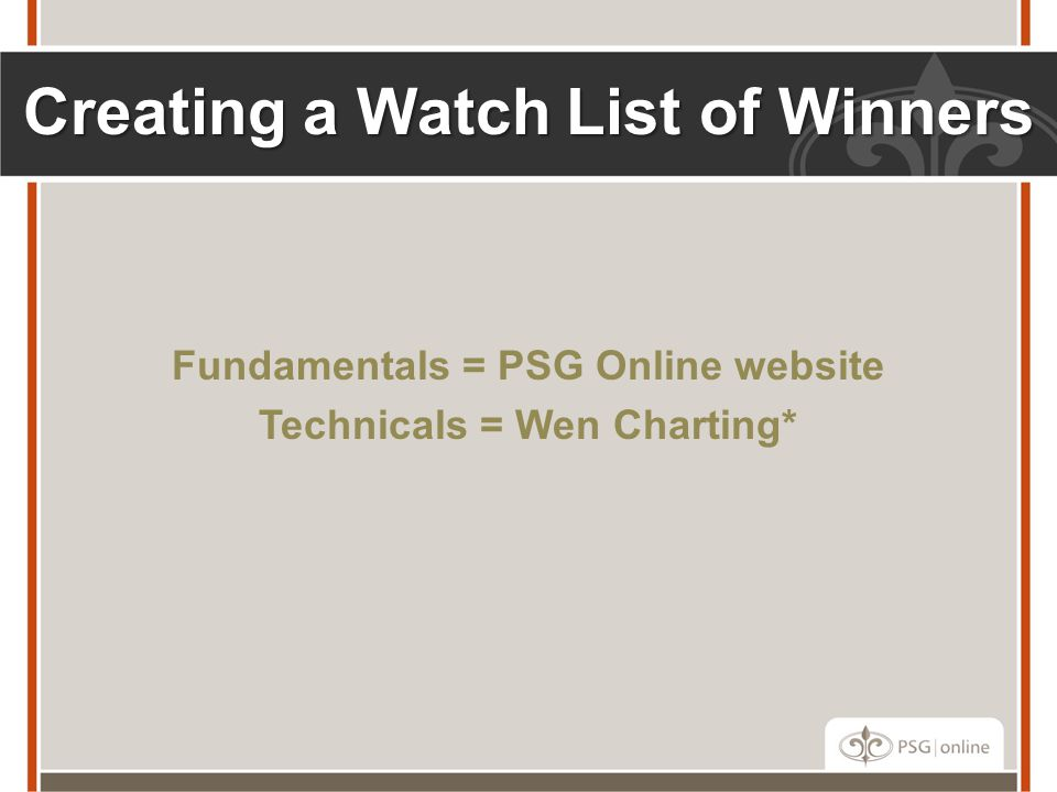Creating a Watch List of Winners