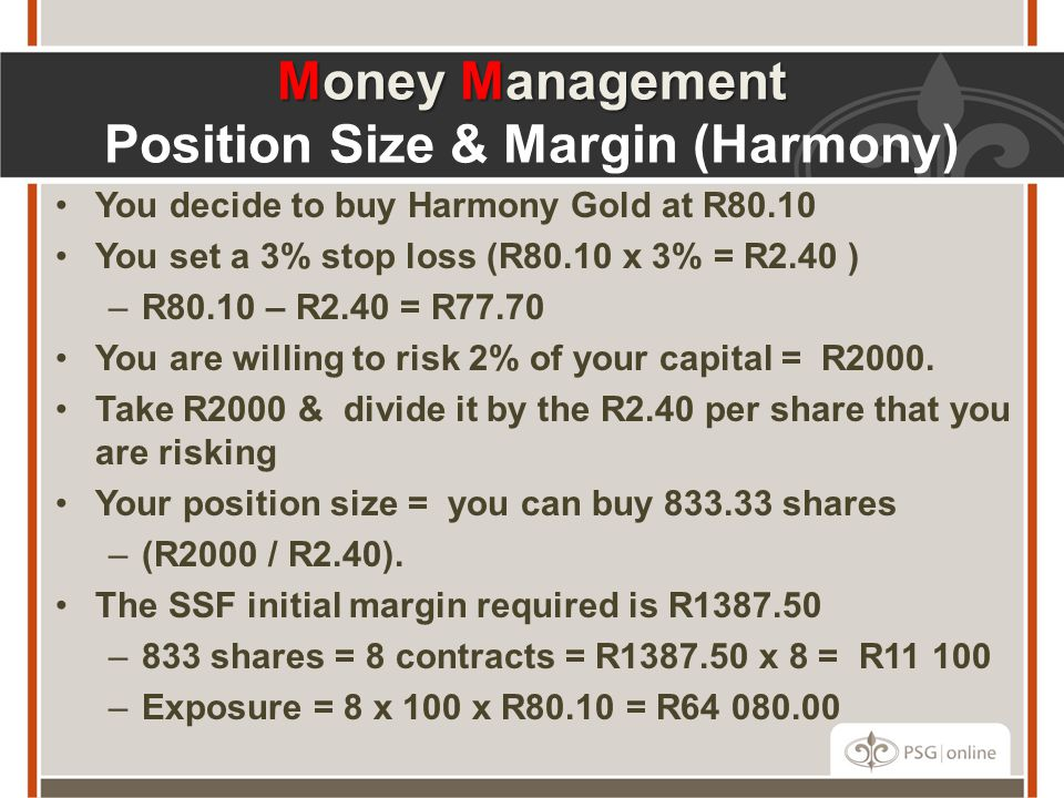 Money Management Position Size & Margin (Harmony)