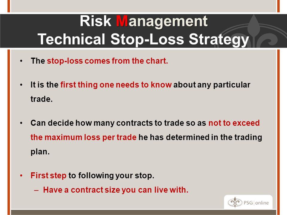 Risk Management Technical Stop-Loss Strategy