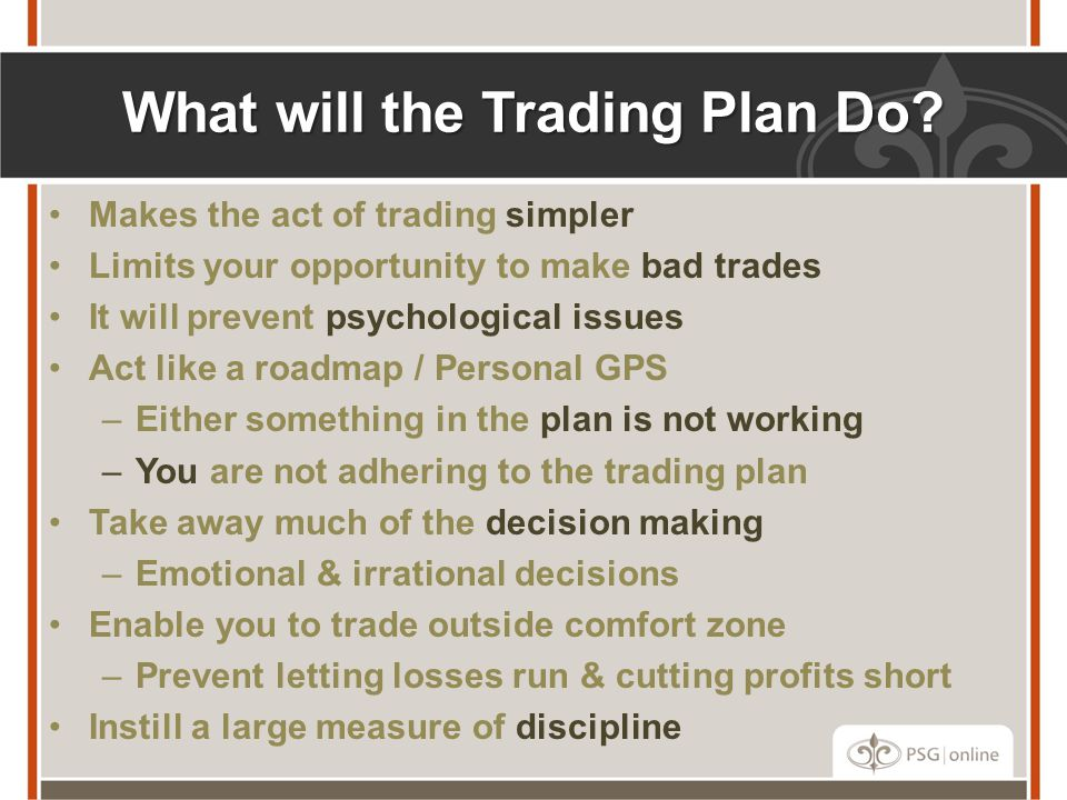 What will the Trading Plan Do