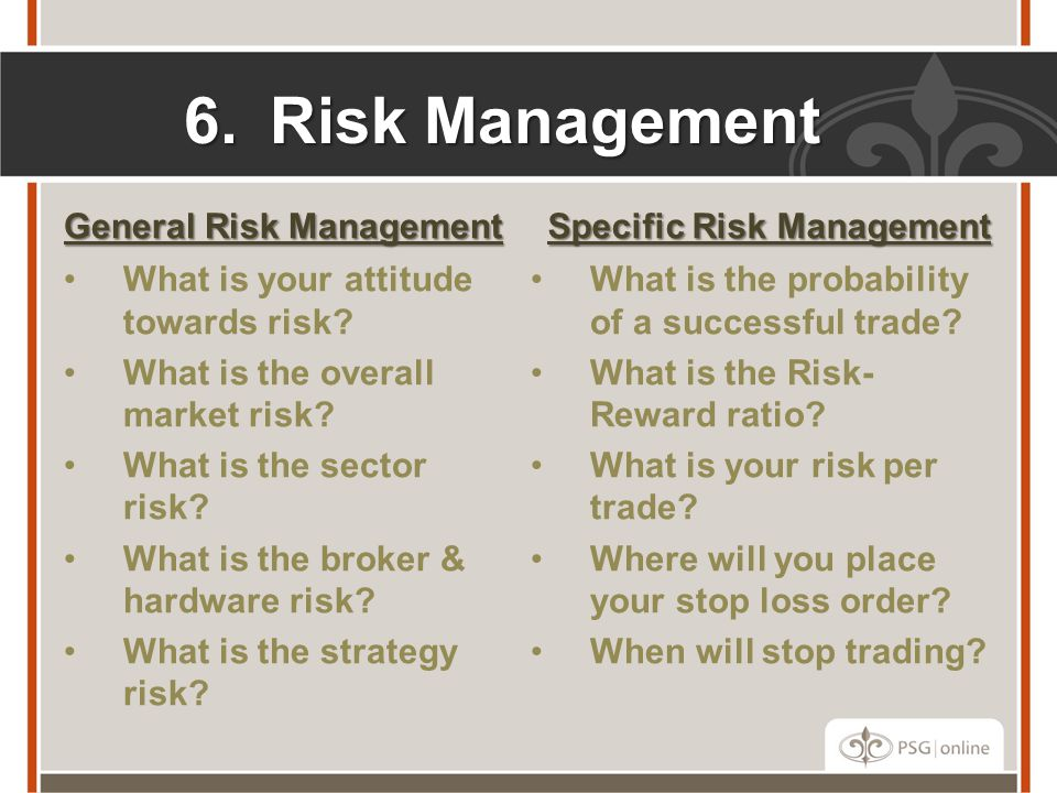 Risk Management General Risk Management Specific Risk Management