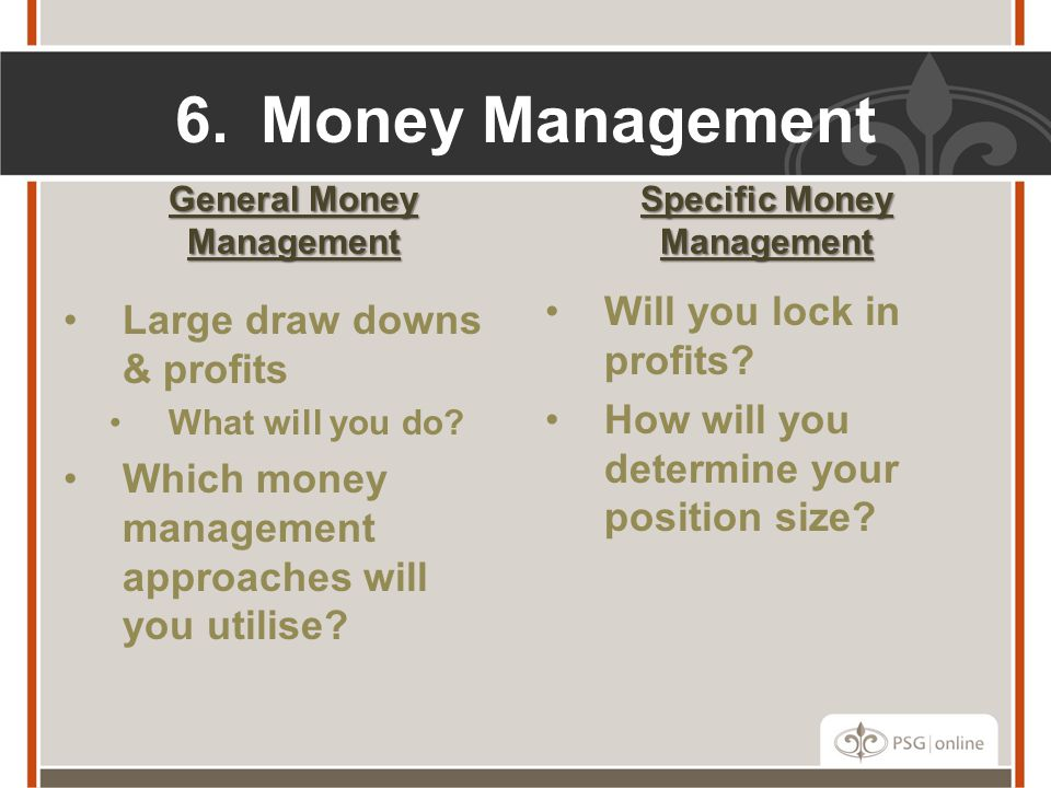 General Money Management Specific Money Management