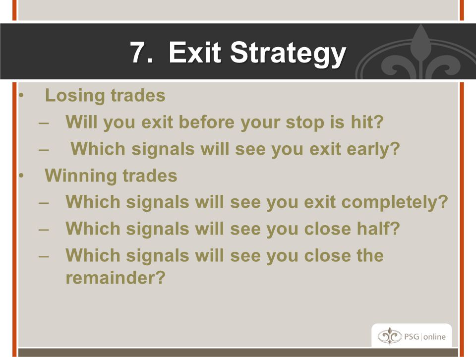 Exit Strategy Losing trades Will you exit before your stop is hit